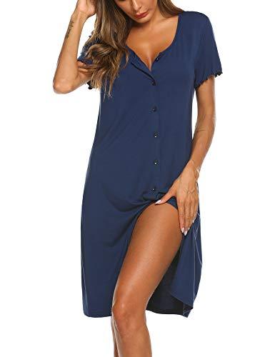 Ekouaer Damen Nachthemd Kurzarm Schlafshirt V-Neck Knopfleiste Nachtwäsche Navy blau L