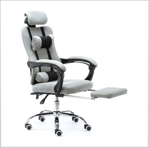 Silla de oficina con reposacabezas, silla de oficina de malla gris con reposapiés Reposacabezas ajustable Altura cómoda silla de videojuegos para mujer, gris
