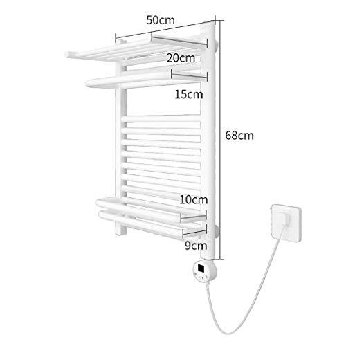 Vrijstaande wand plug-in handdoekverwarmer bad, intelligente thermostaat verwarmde handdoekhouder, wandmontage, handdoekdroger, 68x50cm, 400W, koolstofarm staal, wit, badkamerradiator