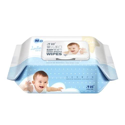Toallitas para bebés Paquete grande de toallitas húmedas para manos y boca de bebé recién nacido, toallitas suaves con una cubierta de 90, para limpiar las manos y la boca, la piel en todas partes,