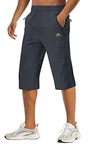 TACVASEN Herren Kurze Cargohose 3/4 Schnelltrocknende Shorts Wanderhose mit Reißverschlusstasche, Dunkelgrau, 36