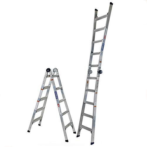 COSCO C210A20T1ASE 2 in 1 14 Max Reach Ladder, 14ft, Steel Gray