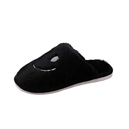 ypyrhh Espuma de Memoria Zapatos con AntideslizanteSuela,Fondo Suave más Pantuflas Lindas de Terciopelo,Zapatos de algodón para el hogar de Pareja-Negro_36-37,Slippers Confortables Zapatos Interio