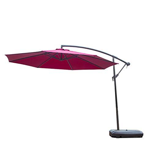 Parasol jardín Paraguas al Aire Libre Offset Paraguas terraza Colgante Paraguas al Aire Libre Mercado Paraguas con manivela y Base Cruzada Doble Arriba (Color : Red)