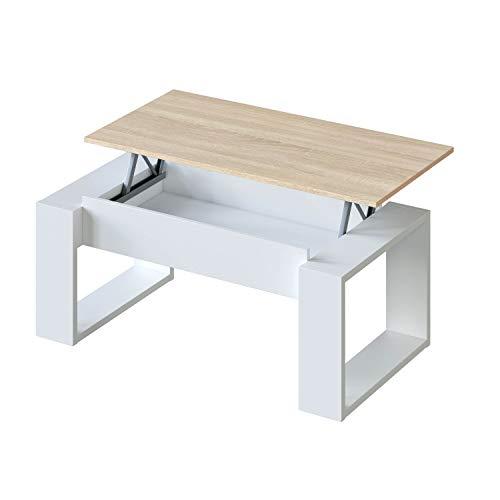 Habitdesign 0F1643A - Mesa de Centro Elevable, Mesita de Sal