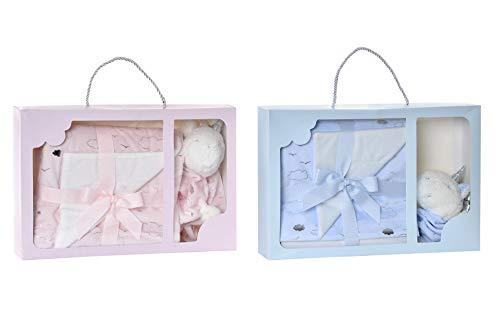 Canastilla Regalo Recién Nacido Set 2 -Dou Dou Peluche Manta Apego de Unicornio 23x33x8cm Manta Poliéster 100x75cm (Rosa/Azul) (Rosa)