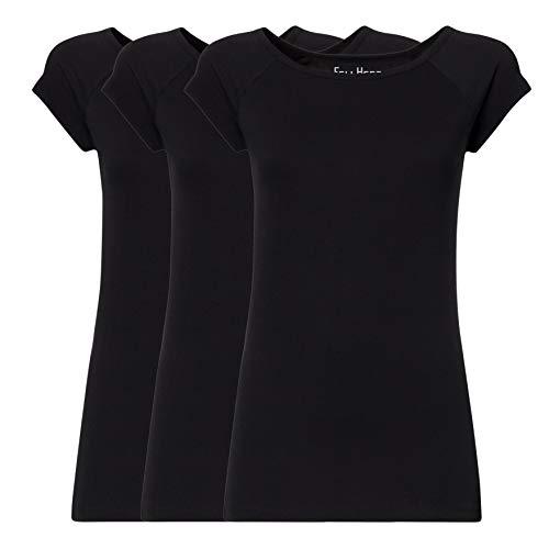 FellHerz Damen T-Shirt 3-er Pack schwarz, Bio & Fair aus 100% Bio-Baumwolle und unter fairen Bedingungen hergestellt, nachhaltig, vegan, ökologisch, alternativ, natürlich, Black (M)