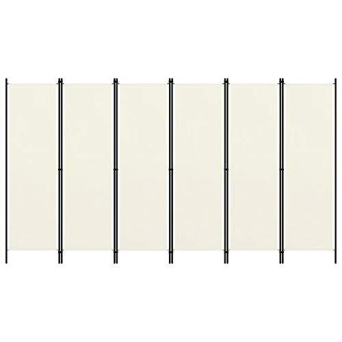 vidaXL Biombo Divisor de 6 Paneles de Pie Plegable Separador Habitación Dormitorio Estancia Decoración Partición Privacidad Blanco Crema 300x180 cm