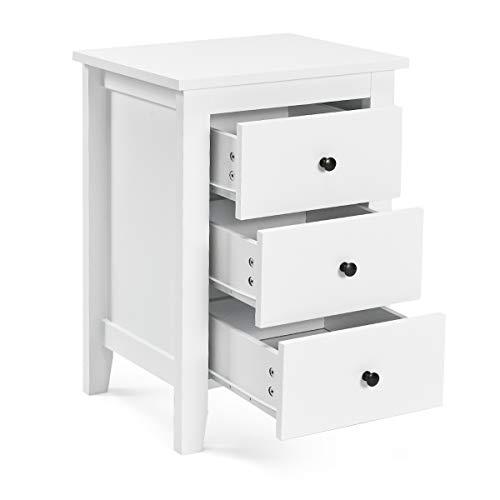 COSTWAY Nachttisch mit 3 Schubladen, Moderner Beistelltisch Nachtkommode mit großer Stauraum & Stabile Struktur, Nachtschrank für Wohnzimmer Schlafzimmer, Weiß