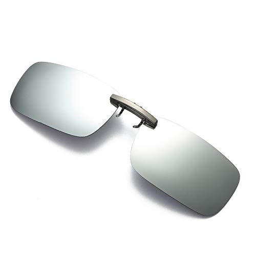 Dorical Unisex Brille, Damen Herren Abnehmbare Nachtsicht-Objektiv Fahren Metall polarisierte Klipp auf-Glas-Sonnenbrille Sale(Silber)