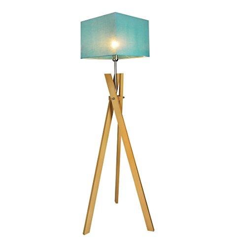 Stehlampe Stehleuchte HausLeuchten SL5TUD-BUCHE aus Massivholz Deckenfluter Standleuchte (TÜRKIS)