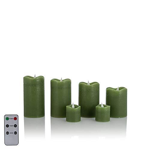 6 LED Echtwachskerzen mit täuschend echter Flamme & Docht, Fernbedienung und Timer (6er Grün)