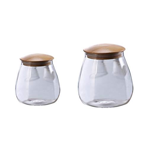 Hemoton 2 Stuks Glazen Pot Met Luchtdicht Deksel Paddestoelvorm Doorzichtige Glazen Potten Potten Voor Voedselopslag Voor Het Serveren Van Thee Koffie Kruiden Suikerzout (400 Ml + 800 Ml)