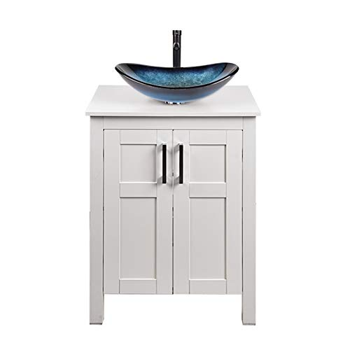 24 Inches Traditional Bathroom Vanity Set in White Finish, Single Bathroom Vanity with Top and 2-Door Cabinet, Boat Tempered Glass Sink Top with Single Faucet Hole