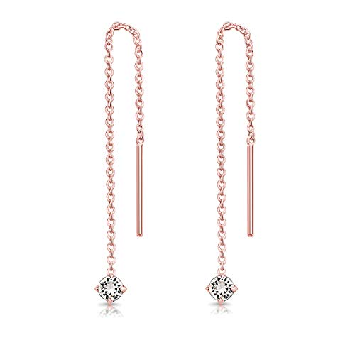 DTP Silver Pendientes Pequeños con Cadena y colgante con 3 mm Cristal Swarovski® Elements - Plata de Ley 925 Plateado en Oro Rosa - Longitud 57 mm - Color: Cristal Claro