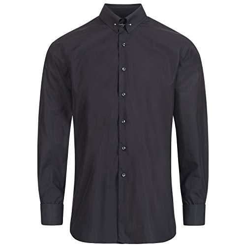 Schaeffer Schwarzes Slim Fit Premium Hemd mit Piccadilly Kragen, Größe: XL