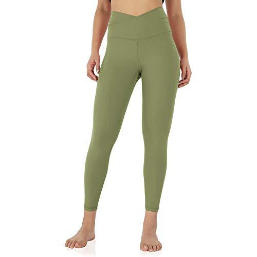 URIBAKY - Pantalones de yoga ajustados para mujer, talla cruzada verde S