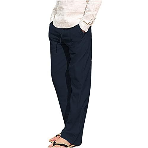 neiabodos Pantalon pour homme en coton et lin avec 2 poches Short décontracté avec cravate, élastique, couleur unie, coupe détendue, pantalon de course à pied, pantalon de course