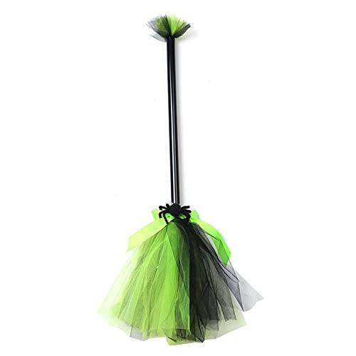 YUMEI Halloween Witch Broom Props, Broomstick Decoration Party Props Costume Accessories Halloween Decorations (Green, One Size)