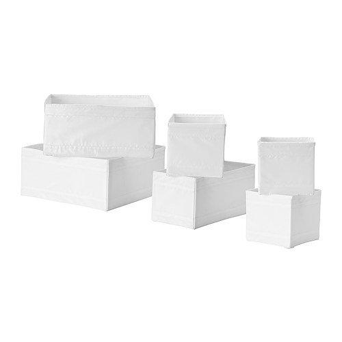 SKUBB Lot de 6 boîtes de rangements Blanc 14 x 14 x 13 cm, 28 x 14 x 13 cm et 28 x 28 x 13 cm (2 de chaque)