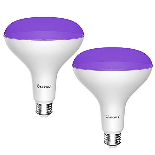 Onforu 2 Pack 15W UV LED Black Light Bulbs (100w Equivalent) ,BR30 E26 Black Light Bulb for Glow in The Dark, 385-400nm, UV Blacklight Bulb for Blacklight Party, Body Paint, Fluorescent Poster