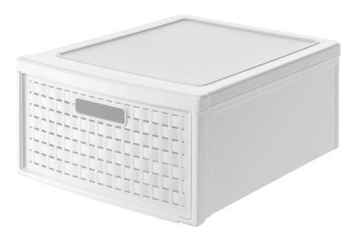 Rotho Country Schubladenbox 19.2 l in Rattan-Optik, Kunststoff (PP), weiss, 19.2 Liter (45 x 34 x 20 cm)