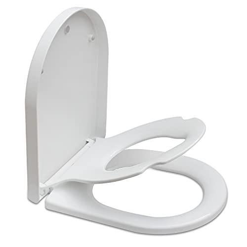 Familien-Toilettensitz mit integriertem Kindersitz, Absenkautomatik, abnehmbarer Toilettensitz für Kleinkinder, mit Schnellentriegelung, Schnellreinigung und Top-Fixierung, D-Form