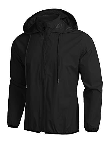 Coofandy, giacca impermeabile da uomo con cappuccio, impermeabile, ideale per ciclismo, corsa, alpinismo Nero M