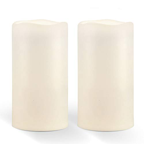 """Amagic 6"""" x 4"""" Outdoor Waterproof Candles, Battery Operated Large Flameless Candles with Timer, Won't melt, Long-Lasting, Ivory White, Set of 2"""