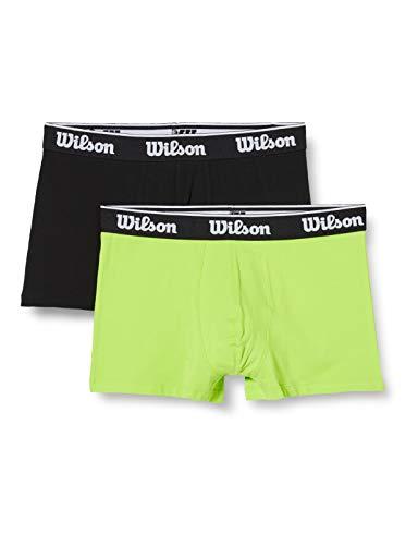 Wilson Herren Cotton Stretch Boxershorts (2er Pack), Grüner Kalk/Schwarz, L