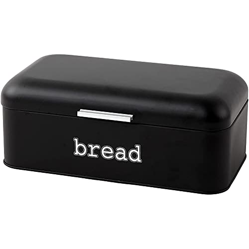 Juvale Bread Box for Kitchen Counter - Stainless Steel Large Bread Bin Storage Container Holder for Loaves, Pastries & More - Retro Vintage Design, Matte Black, 16.75 x 9 x 6.5 inches