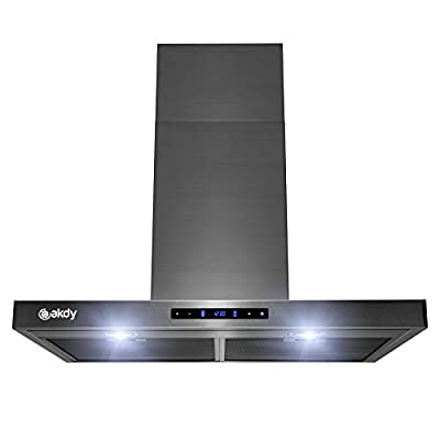 AKDY Brushed Black Stainless Steel Wall Mount Kitchen Range Hood Cooking Fan with Touch Panel (30 in.)