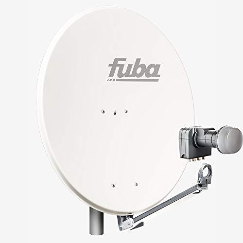 Fuba 4 Teilnehmer Sat Anlage DAL 804 W | Sat Komplettanlage mit Fuba DAL 800 W Alu Sat-Schüssel/Sat-Spiegel weiß + Fuba DEK 417 Quad LNB für 4 Receiver/Teilnehmer (HDTV-, 4K- und 3D-kompatibel)