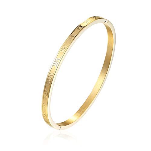 HMKLN 4 M de Ancho de Acero Inoxidable Tallado números Romanos Color Oro Mujer Brazalete Amante Cuff Brazalete Mujer joyería para Regalos