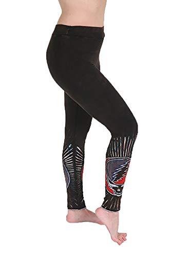 Jayli Augusta Leggings - Cotton Lycra Razor Cut Leggings with Steal Your Face Appliqué   Grateful Dead   GD-S19-68A-BLK-XL Black/Brown