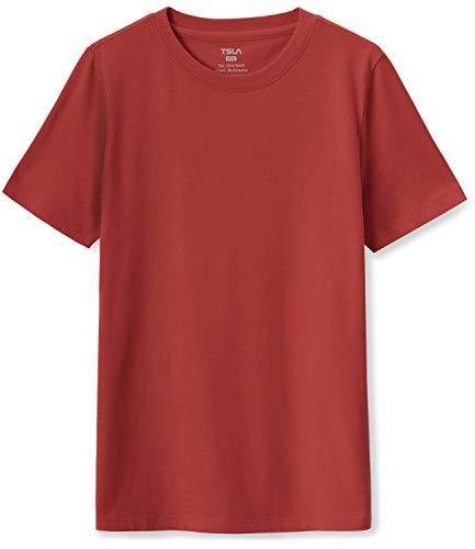 TSLA Kids Youth Running Shirts, Cool Dry Fit Gym Sports Workout Shirts, Athletic Short Sleeve T-Shirts, Short Sleeve(kts02) - Brick, X-Large