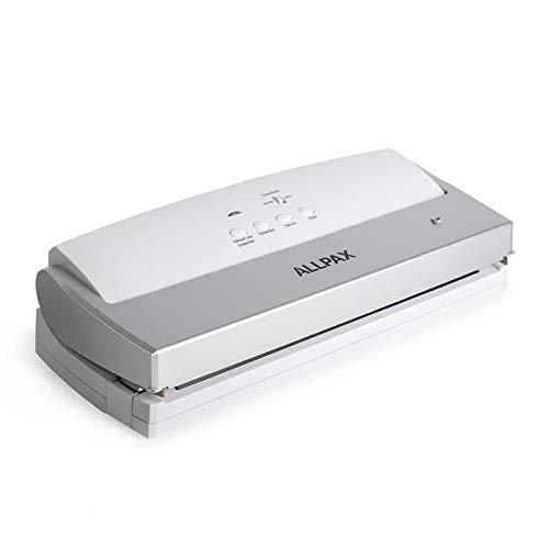 Vakuumiergerät / Folienschweißgerät F 110 von Allpax inkl. 100 Vakuumbeutel 17 x 25 cm - 310 mm Schweißbalken - 2 mm Schweißnaht - Verlängern Sie die Haltbarkeit Ihrer Lebensmittel. Das perfekte Einsteigergerät für Haushalt und Gewerbe. Langlebig und stabil. Leicht zu reinigen dank glatter Vakuumkammer