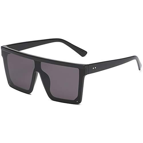 Dasing Unisex Mode Dames Vierkante Zonnebril Vrouwen Oversized Tinten Vintage Zilver Spiegel Zonnebril Voor Vrouwelijke Zwart Frame Zwart