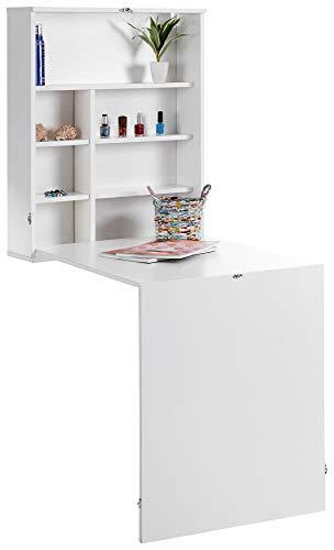 ts-ideen - Mesa de escritorio para colgar (con estantes, plegable), color blanco