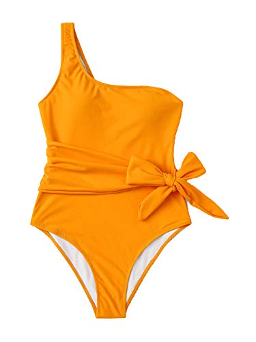SweatyRocks Women's Bathing Suits Tie Knot One Shoulder One Piece Swimsuits Monokini Orange#3 X-Large