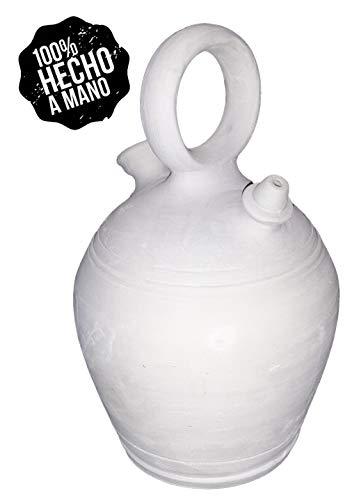 Botijo 3.25 litros Artesanal 100%,Hecho en España Dispensador de Agua fría Porron de Arcilla Blanca,Sal,Barro