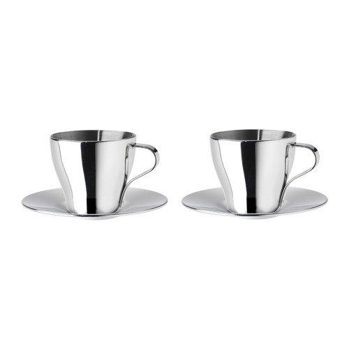 IKEA - Taza de café Espresso KALASET y platillo, / de acero inoxidable , 2 unidades - 6 cl