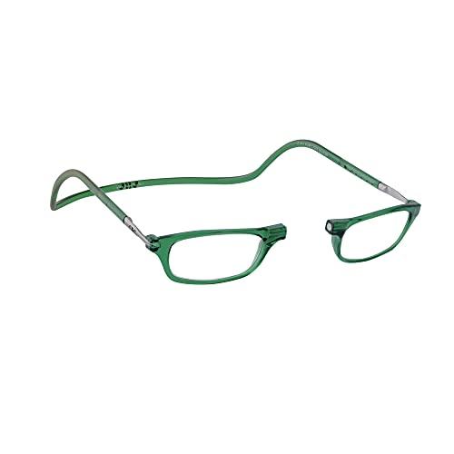 CliC Eyewear Gafas de lectura Classic   Gafas presbicia flexibles   Gafas con clip magnetico   Gafas lectura   Gafas lectura hombre y mujer (1.5, Green)