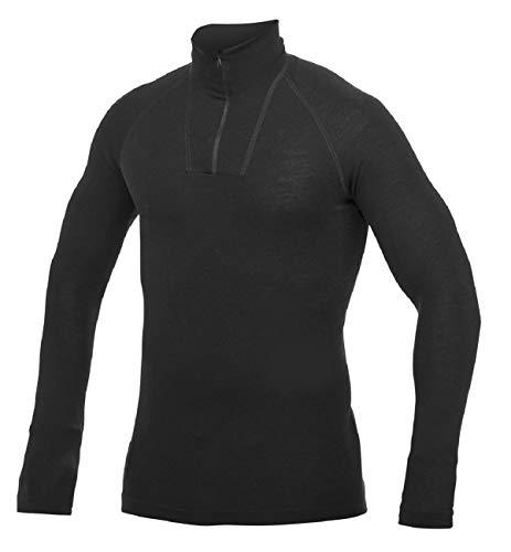 Woolpower Damen Herren Funktionsshirt Zip Turtleneck Lite Langarm, schwarz, XL