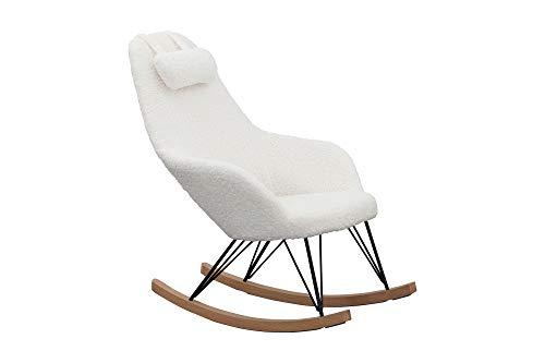 SalesFever Schaukelstuhl Layback | Bezug Teddyfell in Weiß | Kufen Massiv-Holz | Gestell Metall schwarz | bewegliches Kissen | skandinavisches Design