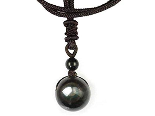 collier avec pendentif en obsidienne oeil celeste, ideal en cadeau pour la fête des meres