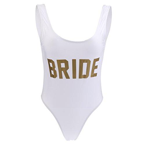 P Prettyia Frauen Monokini Einteiliger Badeanzug Bathing Suit Strandmode BRIDE Bademode Hen Night Braut Dusche Party Junggesellenabschied - Gold, M