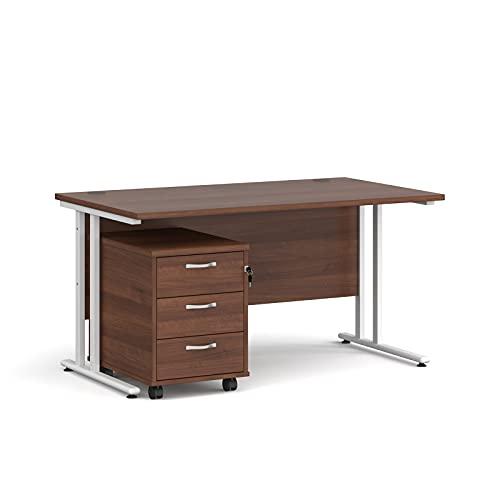 Maestro - Juego de 25 escritorios, 800 mm de profundidad y 3 cajones con patas voladizas, color blanco, nogal, 140 cm