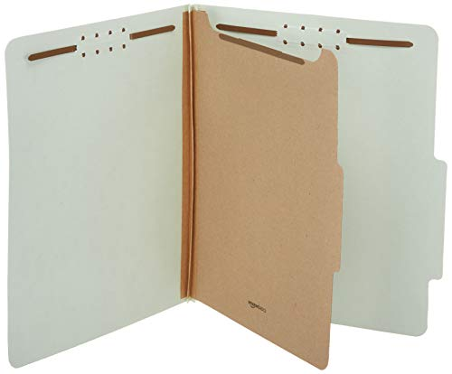 AmazonBasics Pressboard Classification File Folder with Fasteners, 1 Divider, 1.75 Inch Expansion, Letter Size, Light Green (10 Pack)