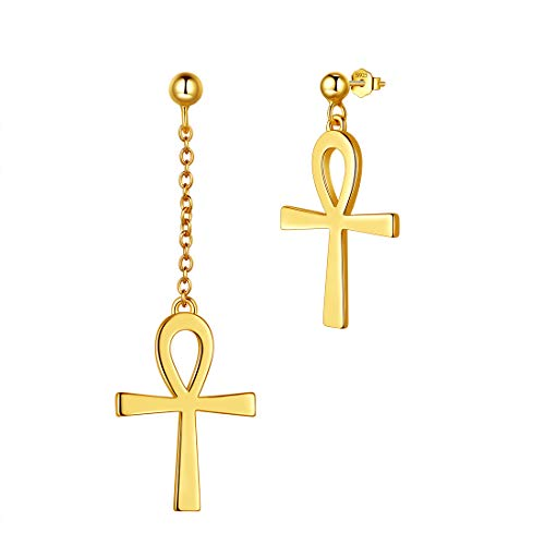 Aurora Lacrime Ankh Cross Orecchini a perno in argento Sterling 925 con croce Ankh Clip-on/catena/asimmetria orecchini gioielli per uomini e donne e Asimmetria, colore: Oro, cod. DE0242Y-EU